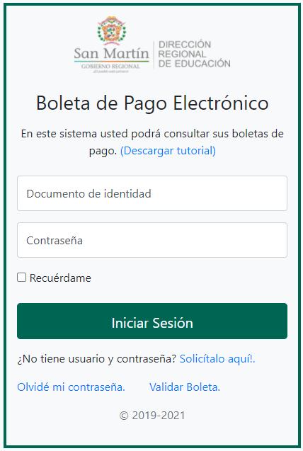 Aplicativo Boletas DRE-SAN MARTÍN - HASTA NOV 2020